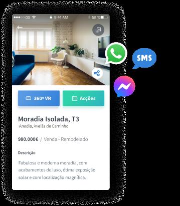 Partilhe imóveis por SMS, Whatsapp e Facebook Messenger