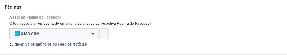 Facebook ads - adicionar página
