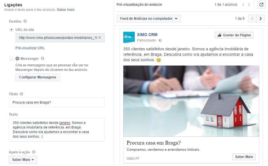 Facebook ads: pré-visualização anuncio