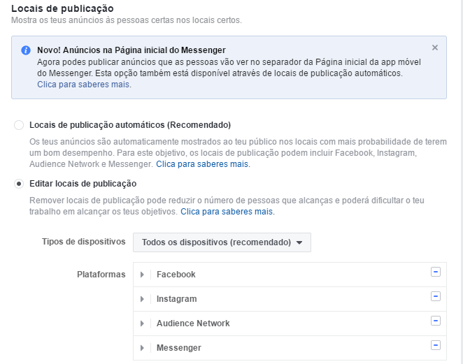 Facebook ads - selecionar locais de publicação