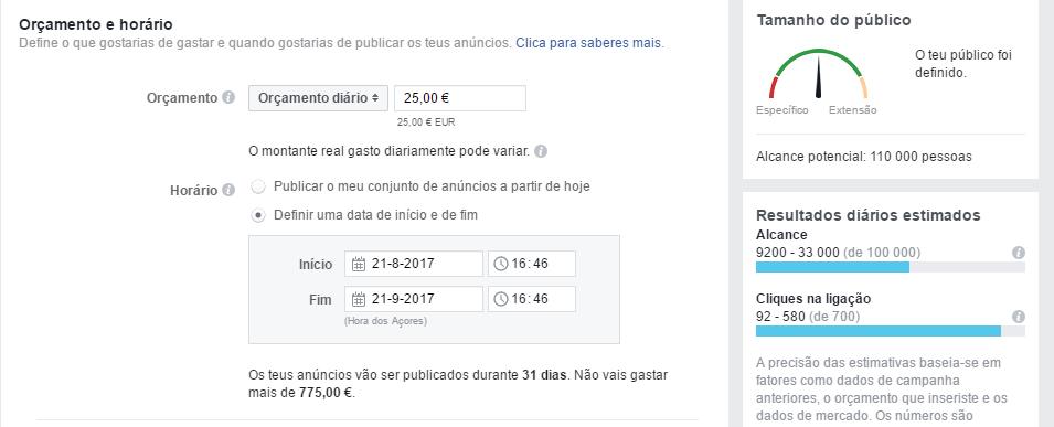 Facebook ads - definir orçamento